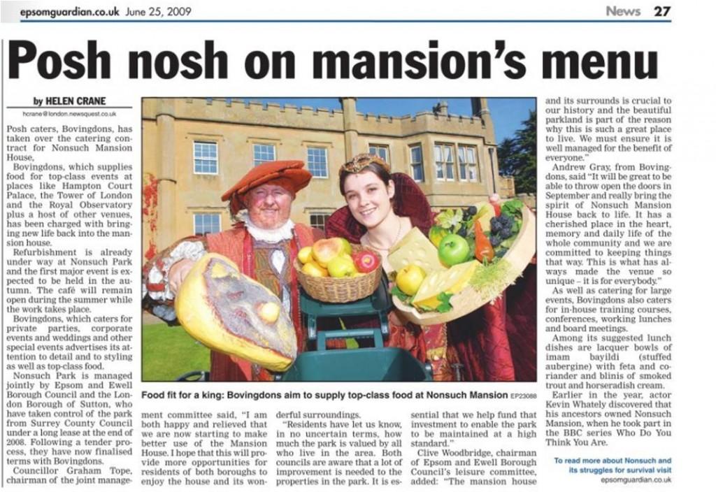 Epsom Guardian - Posh Nosh on mansion's menu - June 25 2009
