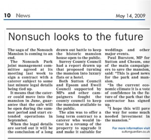 Epsom Guardian - Nonsuch looks to the Future - May 14 2009