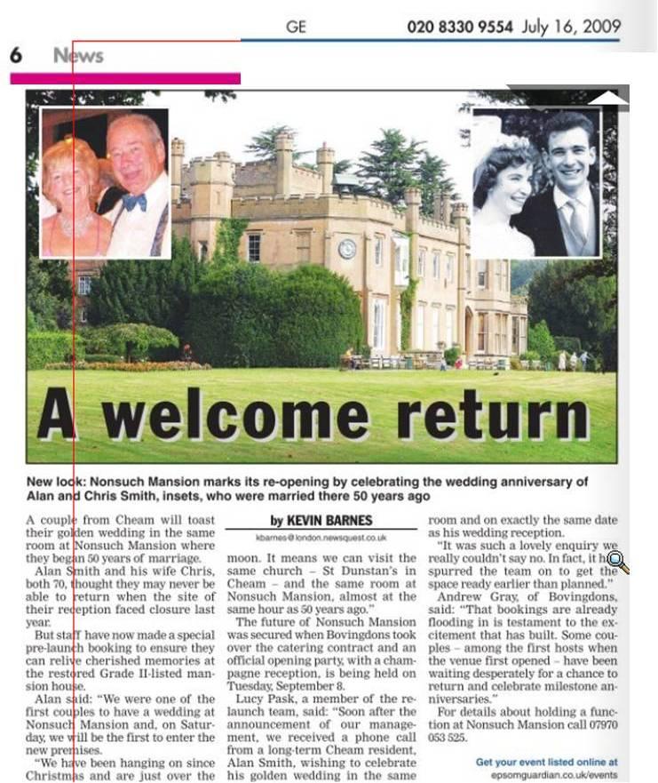 Epsom Guardian - A Welcome Return - July 16 2009